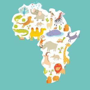 Animals World Map Africa. Colorful Cartoon Vector Illustration by coffeee_in