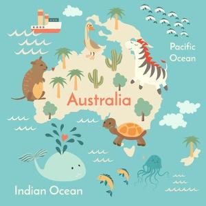 Animals World Map Australia by coffeee_in