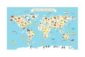 Animals World Map. Colorful Cartoon Vector Illustration for Children and Kids. by coffeee_in