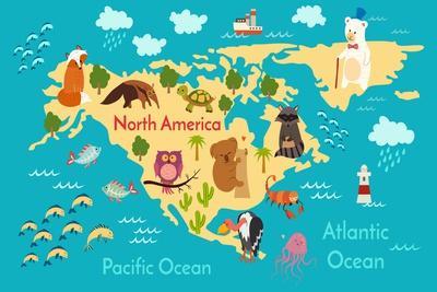Animals World Map North America