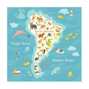 Animals World Map Sorth America. Vector Illustration by coffeee_in