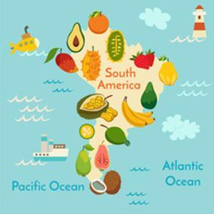 Fruit World Map South America by coffeee_in