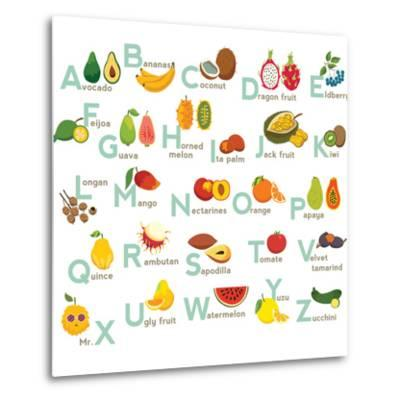 Fruits Abc Vector Set. Exotic Tropical Fruits Vegetable Alphabet.