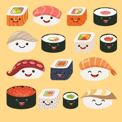 Funny Sushi Characters. Funny Sushi with Cute Faces. Sushi Roll and Sashimi Set. Happy Sushi Charac