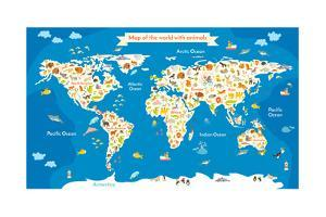 Map of the World with Animals. Beautiful Colorful Vector Illustration by coffeee_in