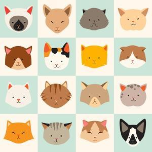 Set of Cute Cats Icons by coffeee_in