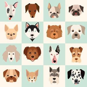 Set of Cute Dogs Icons Vector Flat Illustrations by coffeee_in