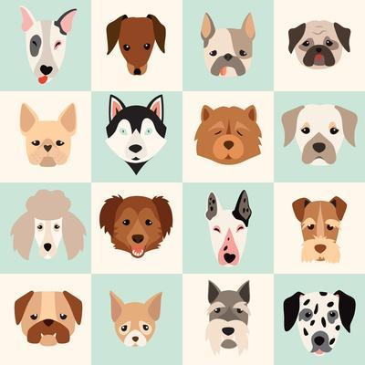 Set of Cute Dogs Icons Vector Flat Illustrations