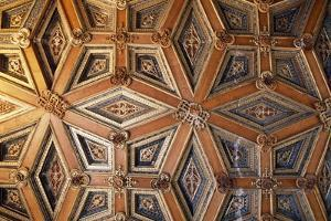 Coffered Wooden Ceiling in Golden Hall, Lapalisse Castle, Auvergne, Detail, France, 16th Century