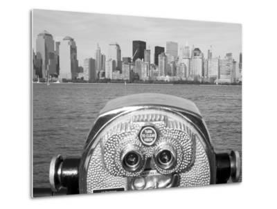 Coin Operated Binoculars Pointed at Manhattan Skyline, Hudson River, Jersey City, New Jersey, Usa-Paul Souders-Metal Print