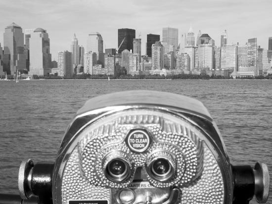 Coin Operated Binoculars Pointed at Manhattan Skyline, Hudson River, Jersey City, New Jersey, Usa-Paul Souders-Photographic Print