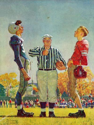 """Coin Toss"", October 21,1950-Norman Rockwell-Giclee Print"
