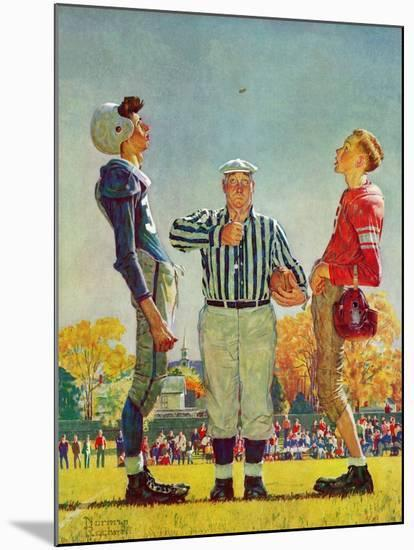 """""""Coin Toss"""", October 21,1950-Norman Rockwell-Mounted Giclee Print"""