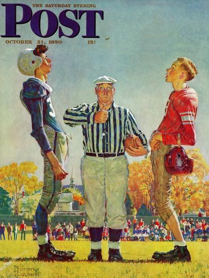 """""""Coin Toss"""" Saturday Evening Post Cover, October 21,1950-Norman Rockwell-Premium Giclee Print"""