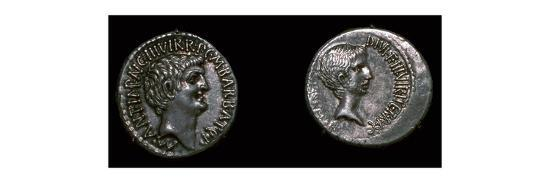 Coins of Mark Antony and Octavian, 1st century BC. Artist: Unknown-Unknown-Giclee Print