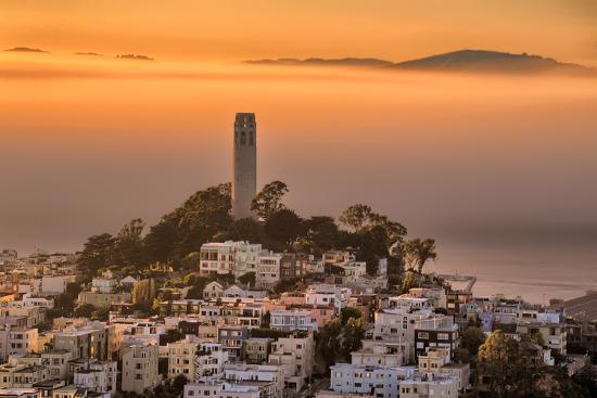 Coit Tower and Golden Fog Flow, San Francisco, Cityscape, Urban View-Vincent James-Photographic Print