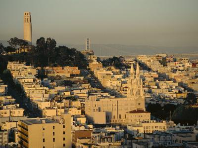 Coit Tower and Telegraph Hill at Dusk, San Francisco, California, USA-Fraser Hall-Photographic Print