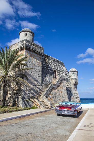 Cojimar Fort and 1959 Dodge Custom Loyal Lancer Convertible, Cojimar, Havana, Cuba (Mr)-Jon Arnold-Photographic Print