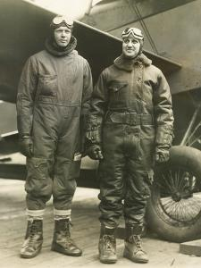 Col. Charles A. Lindbergh (Left) and Harry F. Guggenheim in Flight-Suits. Dec. 8, 1928