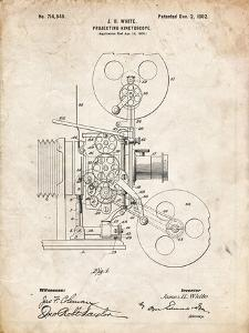 PP1000-Vintage Parchment Projecting Kinetoscope Patent Poster by Cole Borders