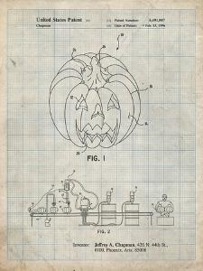 PP1003-Antique Grid Parchment Pumpkin Patent Poster by Cole Borders