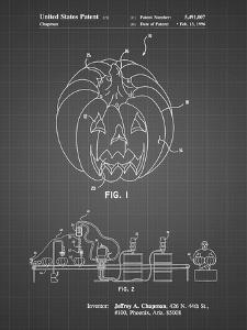 PP1003-Black Grid Pumpkin Patent Poster by Cole Borders