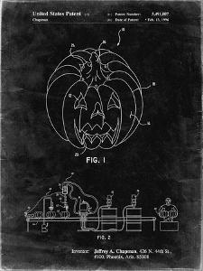 PP1003-Black Grunge Pumpkin Patent Poster by Cole Borders