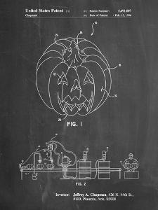 PP1003-Chalkboard Pumpkin Patent Poster by Cole Borders