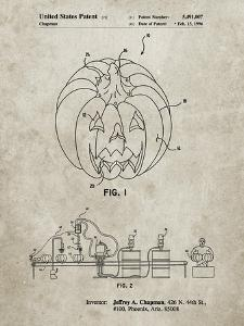 PP1003-Sandstone Pumpkin Patent Poster by Cole Borders
