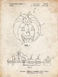 PP1003-Vintage Parchment Pumpkin Patent Poster by Cole Borders