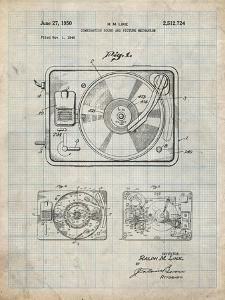 PP1009-Antique Grid Parchment Record Player Patent Poster by Cole Borders
