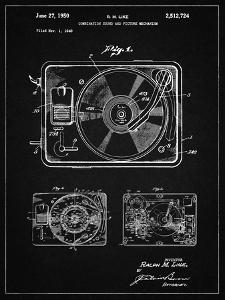PP1009-Vintage Black Record Player Patent Poster by Cole Borders