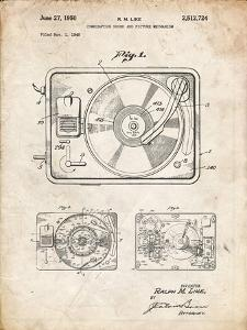 PP1009-Vintage Parchment Record Player Patent Poster by Cole Borders