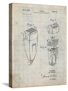 PP1011-Antique Grid Parchment Remington Electric Shaver Patent Poster by Cole Borders