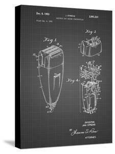 PP1011-Black Grid Remington Electric Shaver Patent Poster by Cole Borders