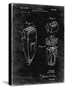 PP1011-Black Grunge Remington Electric Shaver Patent Poster by Cole Borders