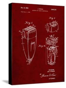 PP1011-Burgundy Remington Electric Shaver Patent Poster by Cole Borders