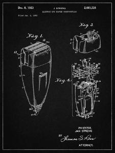 PP1011-Vintage Black Remington Electric Shaver Patent Poster by Cole Borders