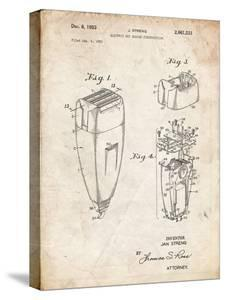 PP1011-Vintage Parchment Remington Electric Shaver Patent Poster by Cole Borders