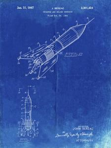 PP1016-Faded Blueprint Rocket Ship Concept 1963 Patent Poster by Cole Borders