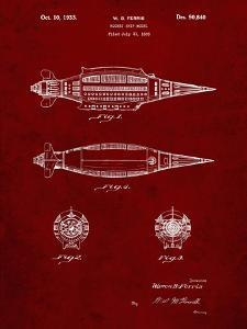 PP1017-Burgundy Rocket Ship Model Patent Poster by Cole Borders