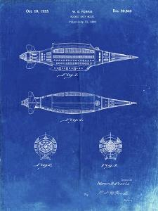PP1017-Faded Blueprint Rocket Ship Model Patent Poster by Cole Borders