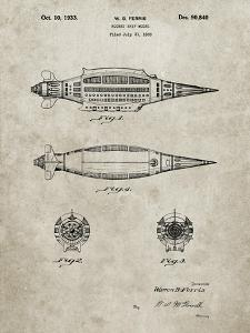 PP1017-Sandstone Rocket Ship Model Patent Poster by Cole Borders