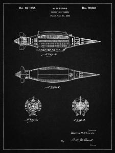 PP1017-Vintage Black Rocket Ship Model Patent Poster by Cole Borders