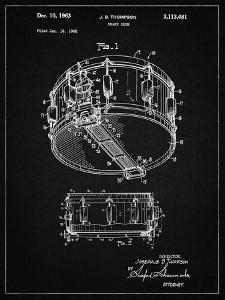 PP1018-Vintage Black Rogers Snare Drum Patent Poster by Cole Borders