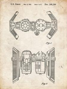 PP102-Vintage Parchment Star Wars TIE Bomber Patent Poster by Cole Borders