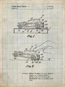 PP1020-Antique Grid Parchment Rubber Band Toy Car Patent Poster by Cole Borders