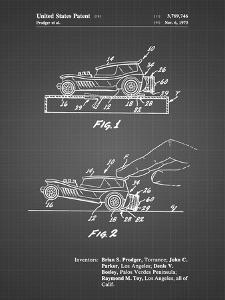 PP1020-Black Grid Rubber Band Toy Car Patent Poster by Cole Borders