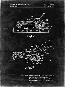 PP1020-Black Grunge Rubber Band Toy Car Patent Poster by Cole Borders