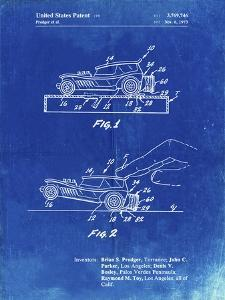 PP1020-Faded Blueprint Rubber Band Toy Car Patent Poster by Cole Borders